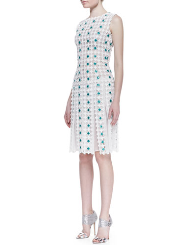 Daisy Embroidered Cotton Drop-Waist Cocktail Dress, White/Caribbean