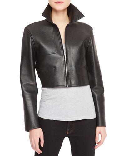 Leather-Front Knit-Back Cropped Moto Jacket, Black/Gray