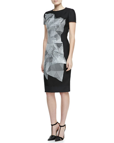Spiral-Morph T-Shirtdress, Black/White