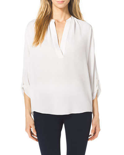Slit-Front Silk Blouse