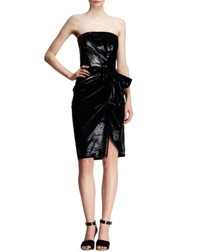 Bow-Waist Strapless Liquid Velvet Dress