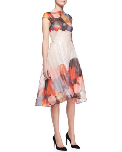 Printed Cap-Sleeve Draped-Bodice Dress