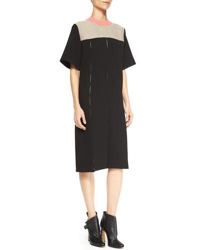 Short-Sleeve Paneled Combo Dress