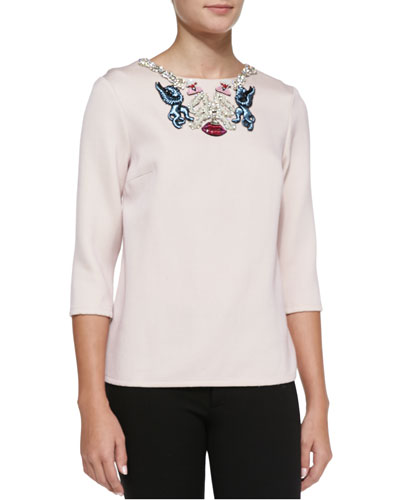 Embroidered-Neck Blouse, Pink