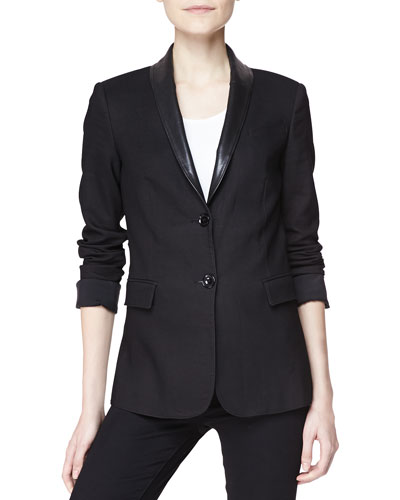 Tailored Two-Button Jacket with Leather Collar