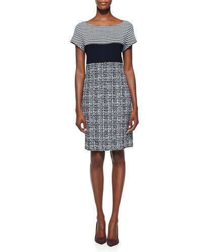 Textured Tweed Knit Cap-Sleeve Dress, Navy/Cream