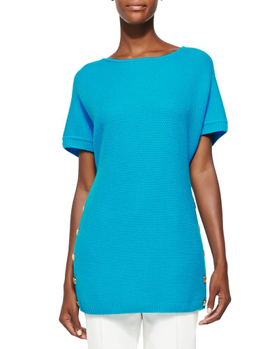 Basketweave Knit Bateau-Neck Top, Blue