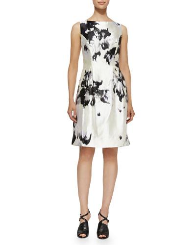 Watercolor Silk Sheath Dress
