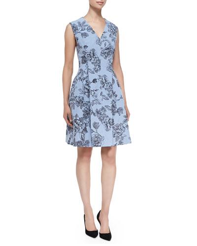Floral Dress with Hidden Zip Front, Sky Blue