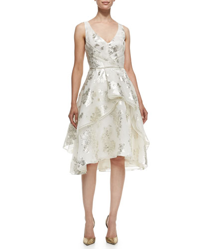 V-Neck Tiered Metallic Floral Dress