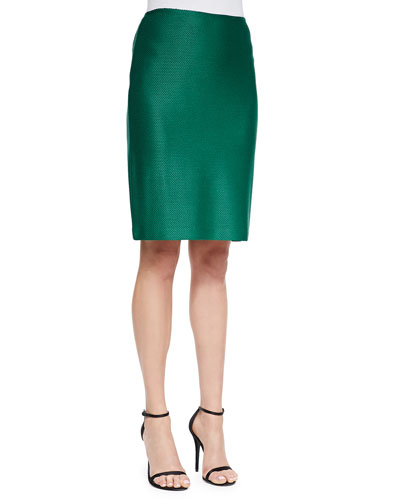 Twill Knit Pencil Skirt, Tourmaline