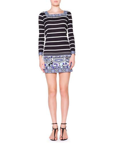 Long-Sleeve Striped Square-Border Dress