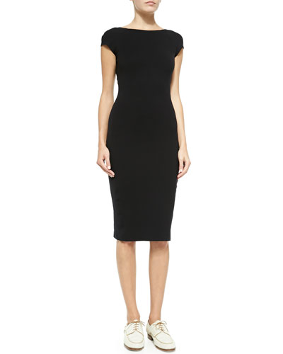 Scoop-Back Fitted Jersey Dress