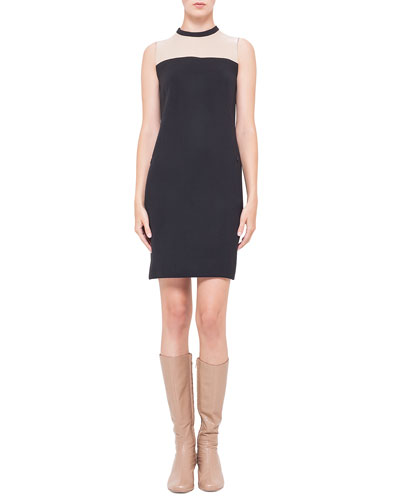 Contrast Leather-Yoked Crepe Dress, Noir/Corde