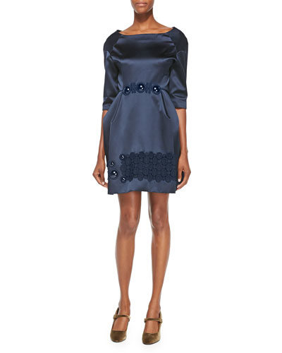 Cabochon-Embroidered Duchesse Satin Dress, Navy