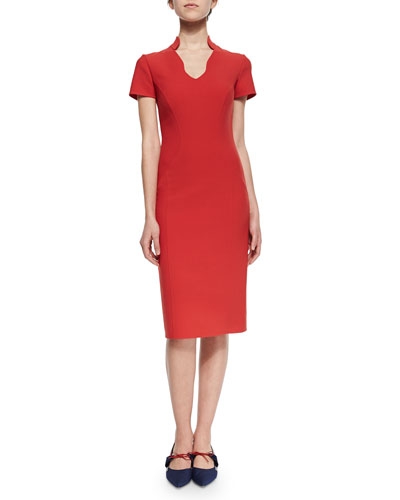 Scallop-Neck Double-Faced Sheath Dress