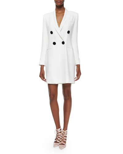 Asymmetric Double-Breasted Crepe Jacket/Dress