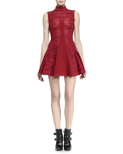 Sleeveless Mock-Neck Dress, Madder Red