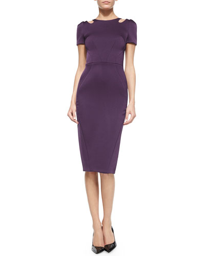 Short-Sleeve Fitted Sheath Dress, Plum