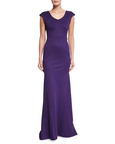 Cap-Sleeve Bandage Jersey Gown