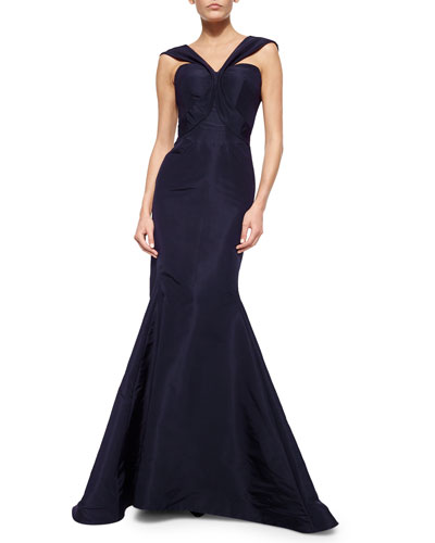 V-Strap Faille Mermaid Gown