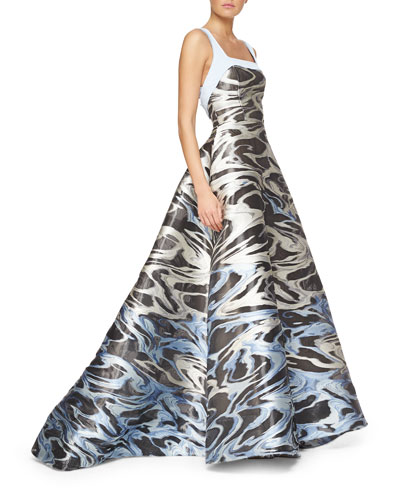 Wave Jacquard Bow-Detailed Full Gown