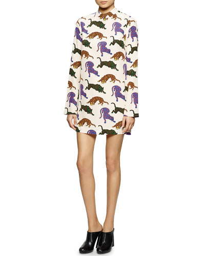 Cat-Print Charmeuse Shift Dress