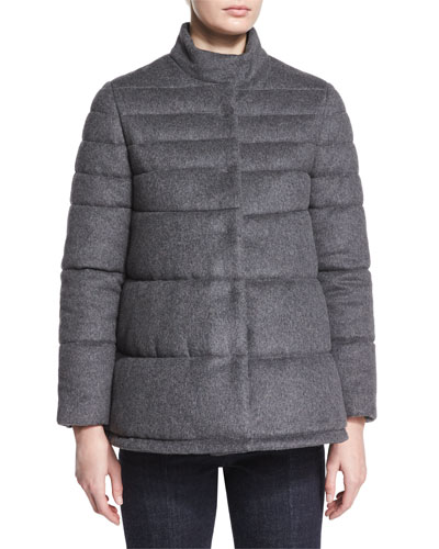 Flannel Puffer Coat, Charcoal