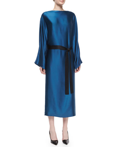 Weath Satin Tie-Waist Dress, Marine Blue