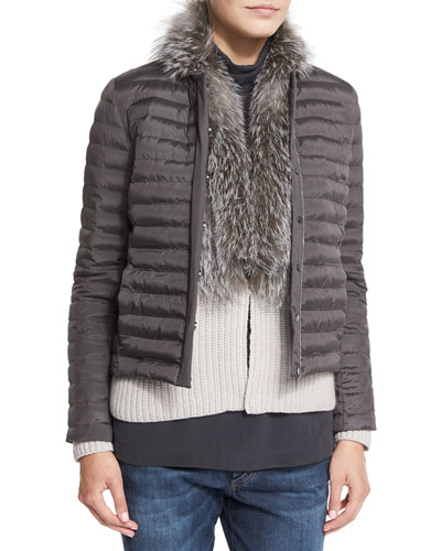 Quilted Silk Jacket W/Monili-Chain Trim, Graphite