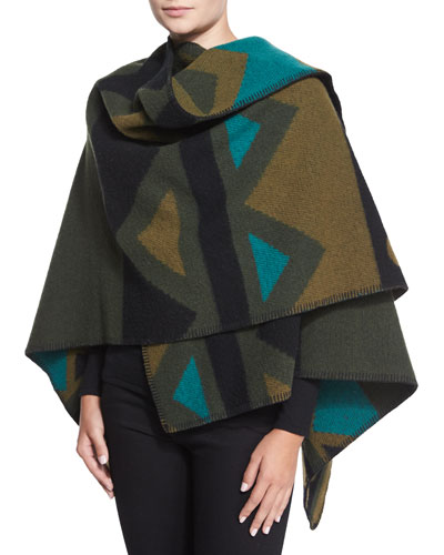 Wool-Blend Graphic-Print Wrap