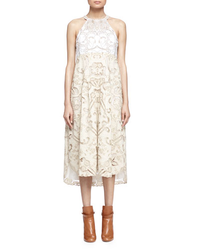 Embroidered Linen/Cotton Lace-Contrast Halter Dress