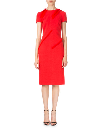 Diagonal-Fringe Short-Sleeve Dress, Poppy Red