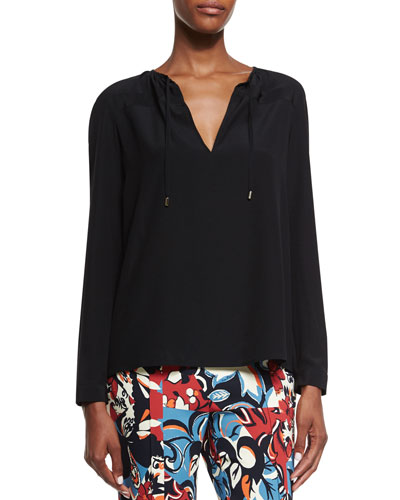 Long-Sleeve Split-Neck Blouse, Black