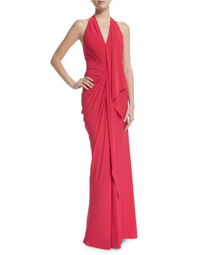 Halter-Neck Backless Evening Gown, Peony