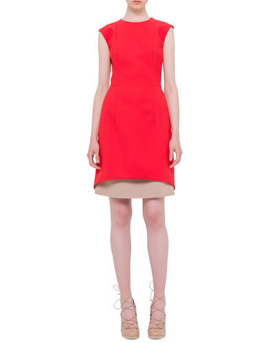 Jewel-Neck Contrast-Hem Dress, Sport Red