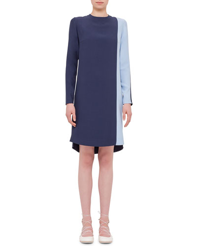 Long-Sleeve Two-Tone Shift Dress, Indigo/Sky