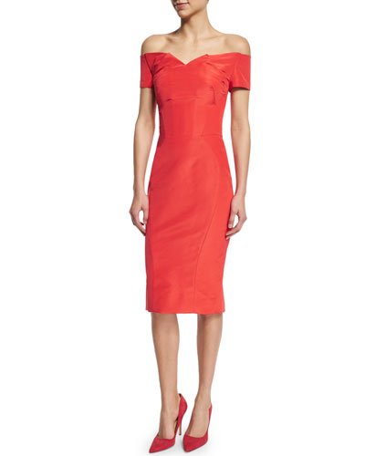 Off-The-Shoulder Cocktail Dress, Coral