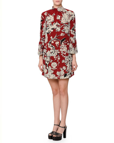 3/4-Sleeve Printed Trapeze Dress, Melgrano Dark Red