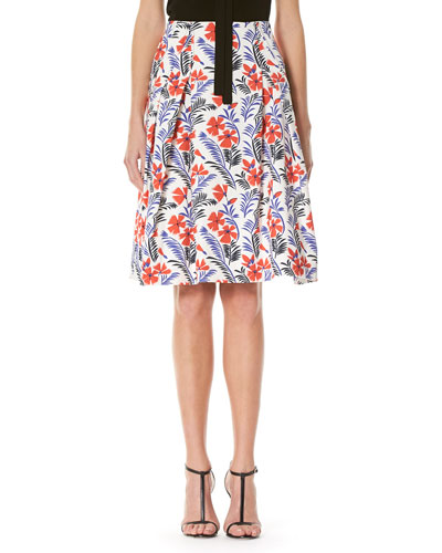 Poppy-Print Pleated Skirt, Multicolor