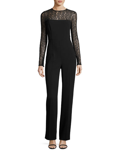 Long-Sleeve Lace-Inset Jumpsuit, Black