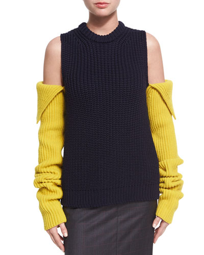 Cold-Shoulder Ribbed Wool Sweater