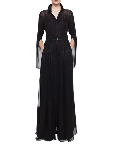 Shirt-Collar Pleated-Skirt Metallic Georgette Evening Gown