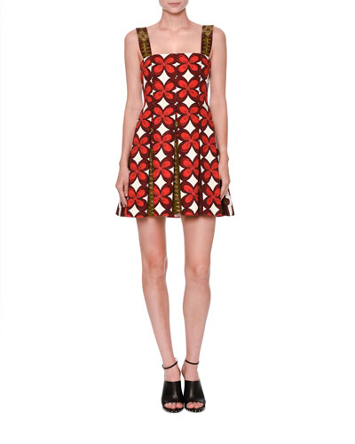 Cuban-Flower Pleated Sleeveless Dress, Multi