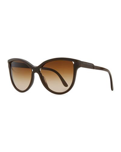 Semi-Round Cat-Eye Sunglasses, Brown