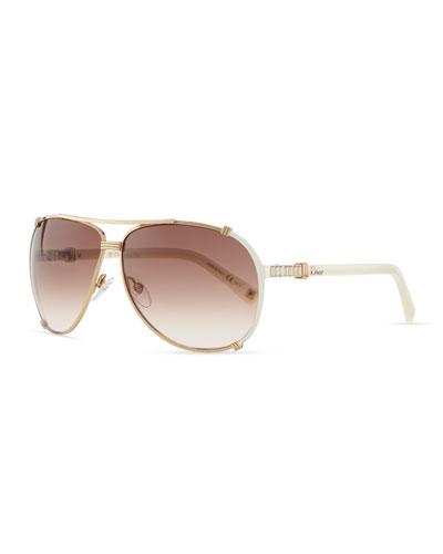 Chicago Crystal Aviator Sunglasses, Rose Golden/Violet