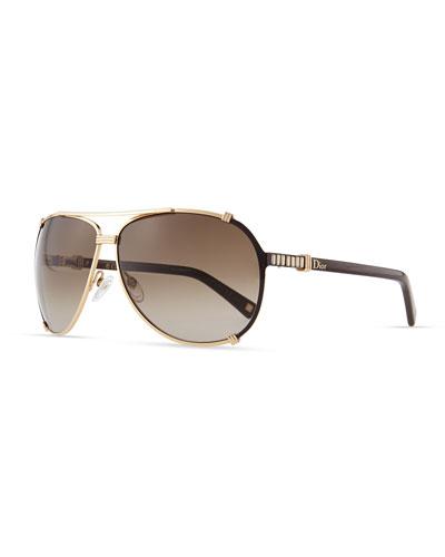 Chicago Crystal Aviator Sunglasses, Rose Golden/Brown