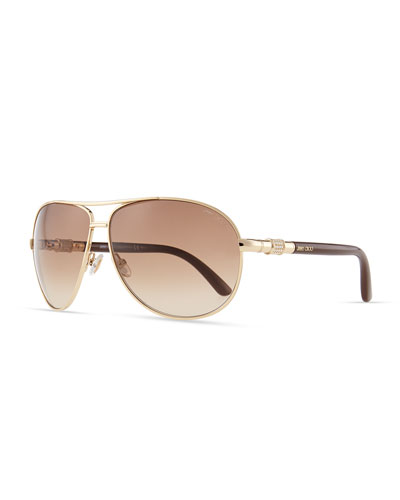 Walde Crystal-Temple Aviator Sunglasses, Brown