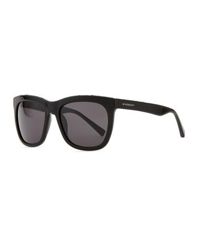 Crystal-Trim Square Sunglasses, Black