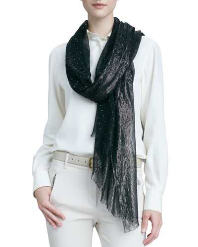Crystal Drop & Shimmery Scarf, Black